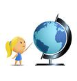 schoolgirl and globe vector image vector image
