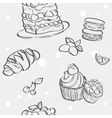 Seamless pattern with cupcakes image croissant and vector image