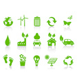 simple green eco icons set vector image