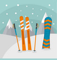 ski mountains background flat style vector image