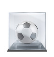 soccer ball under glass case realistic vector image vector image