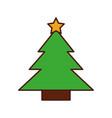 tree pine star decoration celebration cartoon vector image vector image