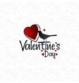 valentines day bird lettering background vector image