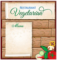 vegetarian menu on wood background vector image