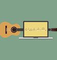 Acoustic guitar melody laptop flat design vector image