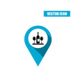 blue map pointer icon with wine bottle and glasses vector image