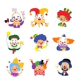 Set of clown cartoon icon isolated on white vector image