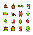 thin line camping icons set vector image