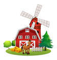 A smiling horse outside the red barnhouse with a vector image vector image