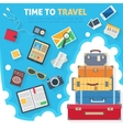 Baggage with travel icons and objects vector image vector image