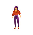 beautiful brunette girl wearing pants and blouse vector image vector image