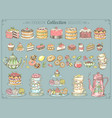 big collection pastries and tea vector image vector image