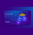 bitcoin conceptual background with blue vector image vector image