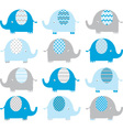 Blue Cute Elephant Collections vector image vector image