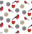 Bullfinch and snowflakes seamless pattern vector image