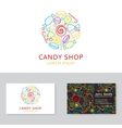 Candy shop logo and business card vector image vector image