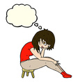 cartoon woman sitting on small stool with thought vector image vector image