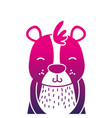 color silhouette adorable and smile bear wild vector image vector image