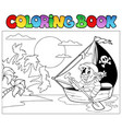coloring book with pirate in boat vector image vector image