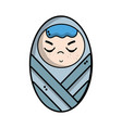 cute baby boy with hairstyle in the blanket vector image vector image