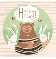 Cute bear and bunny friends vector image vector image