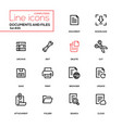 documents and files - modern line design icons set vector image