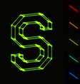 EPS10 glowing wireframe letter S - easy to change vector image vector image