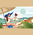 flat young woman mother with hat smears sunblock vector image vector image