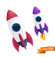 flying rocket with a flame or fire from the vector image vector image