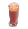 glass with freshly squeezed juice on a white vector image