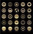 Gold wheels gears steering wheels circular elem vector image vector image