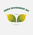 green leaves sign world environment day concept vector image vector image