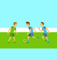 group people playing football match vector image vector image