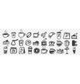 hand drawn cups and pastry doodle set vector image