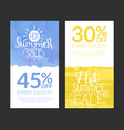 hot summer sale banner template set promotional vector image