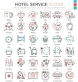 hotel service color line outline icons vector image vector image