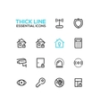 House Security - Thick Single Line Icons Set vector image vector image