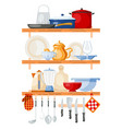 kitchen tools on shelves vector image vector image