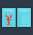 lobster thing seafood poster red crayfish vector image vector image