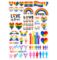 love is rainbow flag lgbt pride set vector image