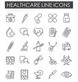 medical line icons set on white background for vector image