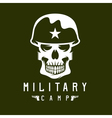 military camp emblem with skull and guns vector image