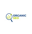 organic seo sprout leaf search logo icon vector image vector image
