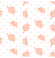 pink palm leaves on polka dot white seamless vector image