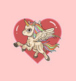 pink unicorn love background cute vec vector image