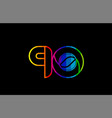 rainbow color colored colorful number 90 logo vector image vector image