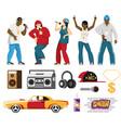 rap singers accessories flat set vector image