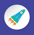 rocket icon in flat style on round button vector image