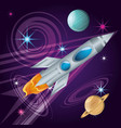 rocket with planets in the universe atmosphere vector image vector image