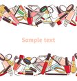 Seamless horizontal pattern make up and cosmetic vector image